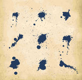 Set of blue ink splats Royalty Free Stock Photos