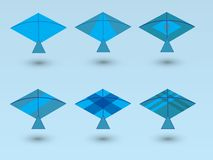 A set of blue kites for children play with different designs on blue background. Vector illustration stock illustration