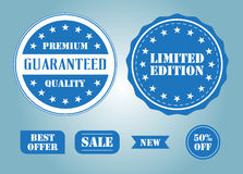 Set of blue labels and badges. Premium quality sale badge limited edition Stock Images