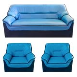 Set of the blue leather sofa Stock Image