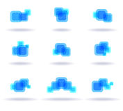 Set of blue logos stock illustration
