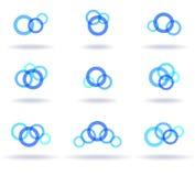 Set of blue logos Stock Images