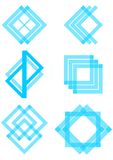 Set of blue logotype elements derived from the square and triangle Royalty Free Stock Photos