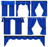 Set of blue luxury curtains and draperies on white background Stock Photos