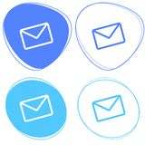 Set of blue mail icons - Email sent - New email icon. Set of flat blue icons on white background - light blue - Email Stock Images