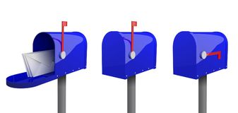 Set of blue mailboxes with a closed door, a raised flag, with an open door and letters inside. A set of mailboxes with a closed door, a raised flag, with an vector illustration