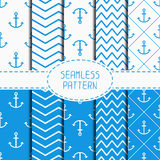 Set of blue marine geometric seamless pattern with Stock Image