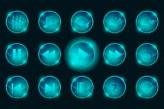 NSet of Blue Media Player Buttons Stock Photos