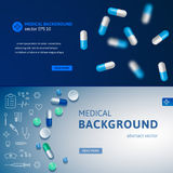 Set of blue medical banners. With pills and medicine symbols. Realistic vector backgrounds for websites and advertisement Royalty Free Illustration