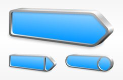 Set of blue metal arrow buttons. Set of 3d blue arrow buttons with metal edge Royalty Free Stock Photos