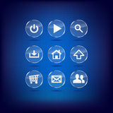 Set of blue modern glass web buttons Stock Photos