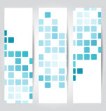 Set blue mosaic tile cards Royalty Free Stock Photo