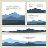 Set of blue mountains backgrounds. Vector templates design. Stock Photo
