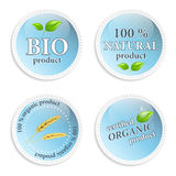 Set of blue natural  icons or labels. Natural product, organic product and bio product icon Royalty Free Stock Image