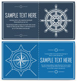 Set of blue nautical flyers Royalty Free Stock Photos