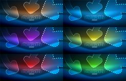 Set of neon techno arrows, digital vector abstract backgrounds. Set of blue neon techno arrows, digital vector abstract backgrounds. Hi-tech business or vector illustration