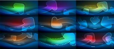Set of neon techno arrows, digital vector abstract backgrounds. Set of blue neon techno arrows, digital vector abstract backgrounds. Hi-tech business or stock illustration