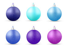 Set of blue New Year balls. With shadow. Ornamentation on Christmas tree. Vector illustration royalty free illustration