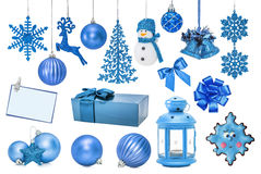 Set of blue New Year baubles for Christmas fir-tree. Snowflake, sphere, boot, branch, hand bell, star, gingerbread, card, invitation, gift, lamp, mitten Royalty Free Stock Photo