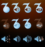 Set of blue notes with images of the speakers Royalty Free Stock Photo