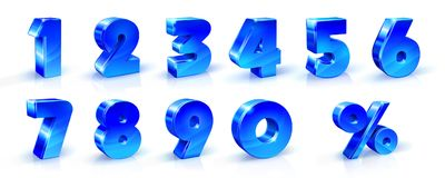 Set of blue numbers. 1, 2, 3, 4, 5, 6, 7, 8, 9, 0 and percent sign. 3d illustration. Suitable for use on advertising banners posters flyers promotional items Stock Images