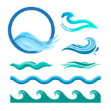 Set of blue ocean waves. Vector logo elements. Sea water icons royalty free illustration