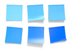 Set of blue office sticky notes for reminders and important information, 3D rendering Royalty Free Stock Images