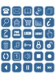 Set of blue office and web icons with white pictograms and silver frames. Vector EPS 10 vector illustration