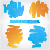 Set of blue and orange vector brush strokes Stock Image