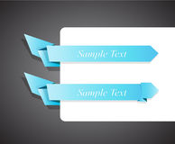 Set of blue origami ribbon for your text. Stock Photo