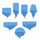 Set of blue origami style vector speech bubble Royalty Free Stock Photos