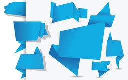 Set of blue origami tags, banners and labels Stock Photos