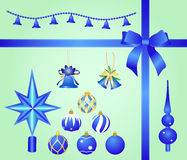 Set of blue ornaments. To Christmas and new year Royalty Free Stock Photos