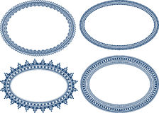Set of blue oval frames Royalty Free Stock Image