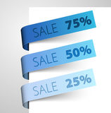 Set of blue paper tags Royalty Free Stock Photo