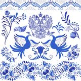 Set of blue patterned elements for the design in the style of ethnic porcelain painting. Seamless borders, birds and flowers isola. Ted on white. Vector vector illustration