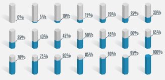 Set of blue percentage charts for infographics, Royalty Free Stock Photo