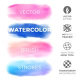Set of blue and pink realistic watercolor strokes on an isolated transparent background for your design. Vector royalty free stock photos