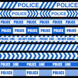 Set of blue police ribbons Stock Photo