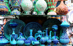 Set of blue porcelain. Traditional turkish blue porcelain on the bazzar Royalty Free Stock Photos