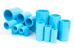 Set Blue PVC Pipe fittings joint and elbow , PVC Conduit Fitting stock photos