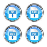 Set of blue rar, zip, doc and pdf download icons on a white back Stock Images