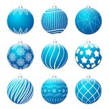 Set of blue realistic christmas balls different textures. Christmas bauble decorated with white patterns. Vector illustration vector illustration