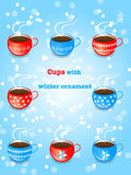 Set of blue and red cups with snowflake ornament. Blue and red cups with white decorative snowflake in winter background.Vector winter illustration Royalty Free Stock Images