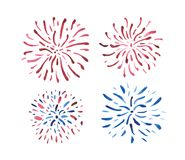 Set of blue and red fireworks isolated on white background, painted in watercolor. royalty free stock photo