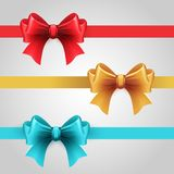 Set of blue, Red and gold holiday ribbon with bow Royalty Free Stock Photos