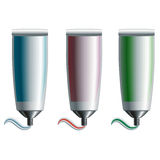 Set of blue, red, and green tubes Royalty Free Stock Photo