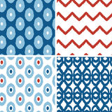 Set of blue and red ikat geometric seamless Royalty Free Stock Photo