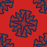 Set of blue on red mandalas seamless.Decorative symmetry ornaments.Anti-stress therapy pattern. Weave design tiled. Stock Photos