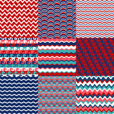 Set of blue, red and white sea wave seamless patterns. Stock Photos